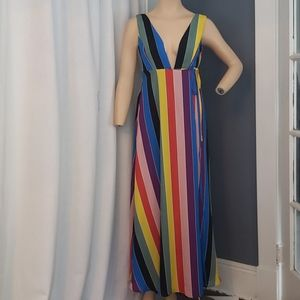 Stunning Aqua Lux Maxi Striped Rainbow Dress Sz XS